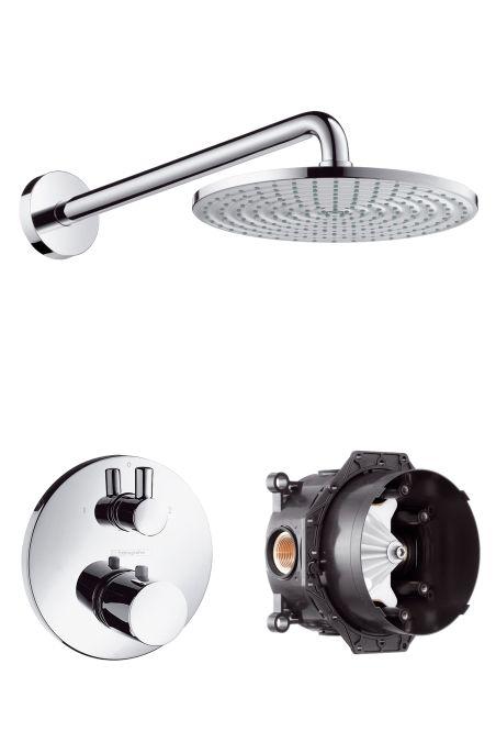 HansGrohe Raindance S 240 AIR tányér fejzuhany DN15 / zuhanykarral / Ecostat S termosztát elzáró- és váltószeleppel / króm / 27122000 / 27122 000