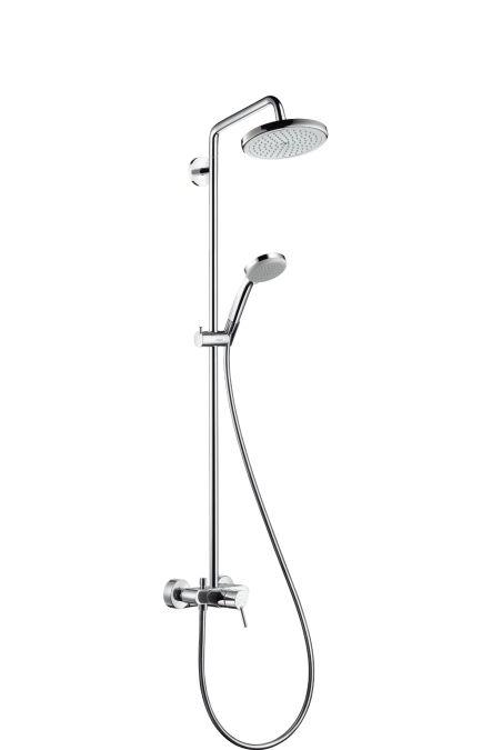 HansGrohe Croma 220 Showerpipe egykaros csapteleppel és 400 mm-es zuhanykarral / DN15 / króm / 27222000 / 27222 000