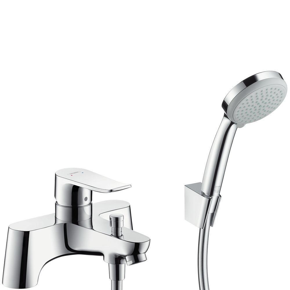 HansGrohe Metris 2lyukas peremre szerelhető kádcsaptelep / Croma 100 Vario/Porter 'S zuhanyszettel / kézizuhannyal / 31422000 / 31422 000