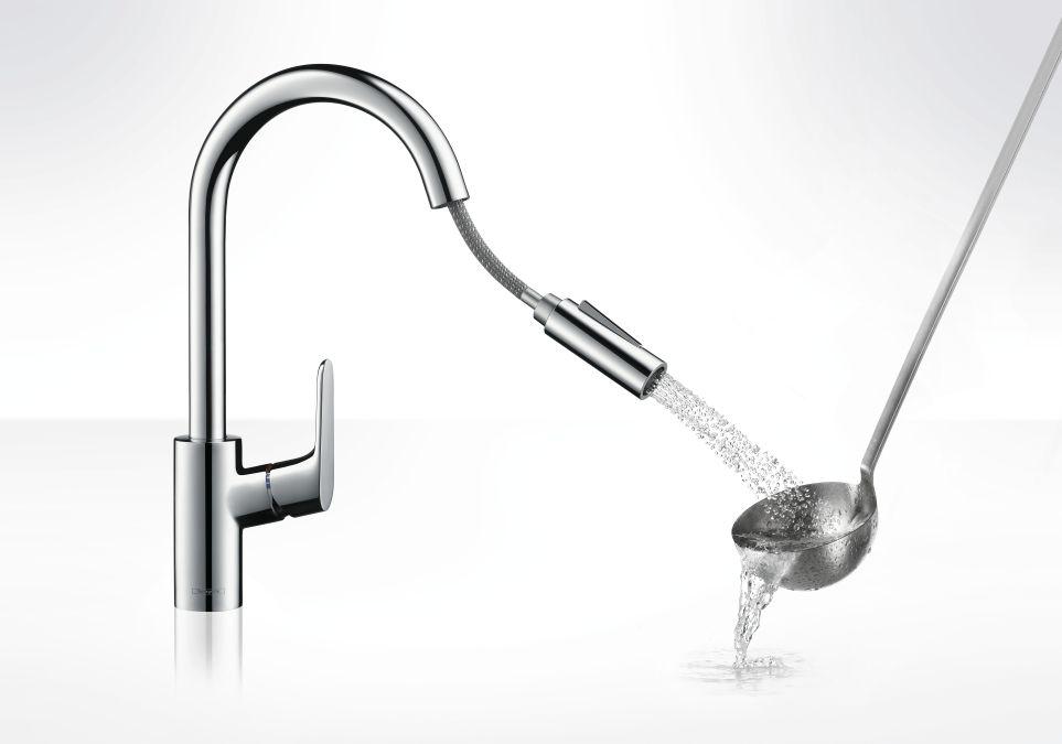 HansGrohe Focus konyhai csaptelep, kihúzható zuhanyfejjel / rozsdamentes acél hatású-optic / 31815800 / 31815 800
