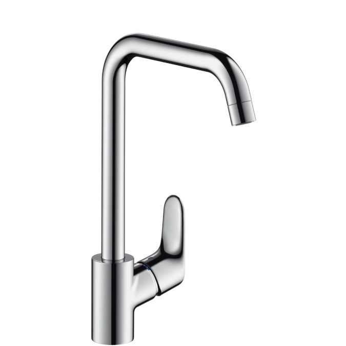 HansGrohe Focus konyhai csaptelep / elfordítható kifolyóval / átfolyós vízmelegítőkhöz / rozsdamentes acéloptika / 31822800 / 31822 800