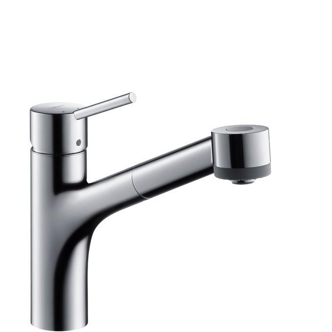 HansGrohe Talis S Egykaros konyhai csaptelep DN15 kihúzható zuhanyfejjel, rozsdamentes acél hatású / 32841800 / 32841 800