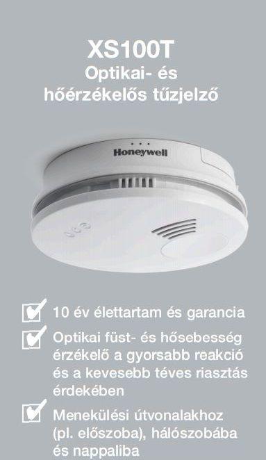 HONEYWELL XS100T önálló kombinált optikai füst- és hőérzékelő / füstjelző / tűzjelző / tűzérzékelő / riasztó, elemes, XS100T-HU / XS100T