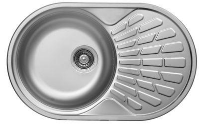 LIVINOX EC-159K egymedencés + csepptálcás kör alakú rozsdamentes mosogató / mosogatótálca beépíthető