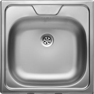 """LIVINOX N-144K panel / házgyári egymedencés rozsdamentes mosogató / mosogatótálca fúrt 48x48 cm 1 1/2"""" középső csaplyukkal"""