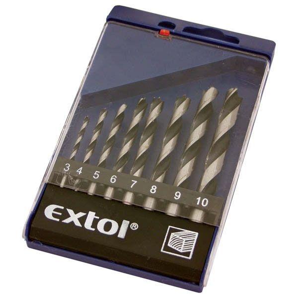 EXTOL CRAFT fafúró klt., műanyag dobozban 8db, 3-10mm polírozott / 1142 / (MB)