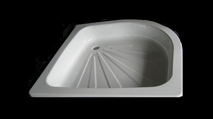 Mistral acéllemez / lemez zuhanytálca 80x80x17 cm, íves / sarok / negyedköríves, beépíthető, zomácozott, fehér színben