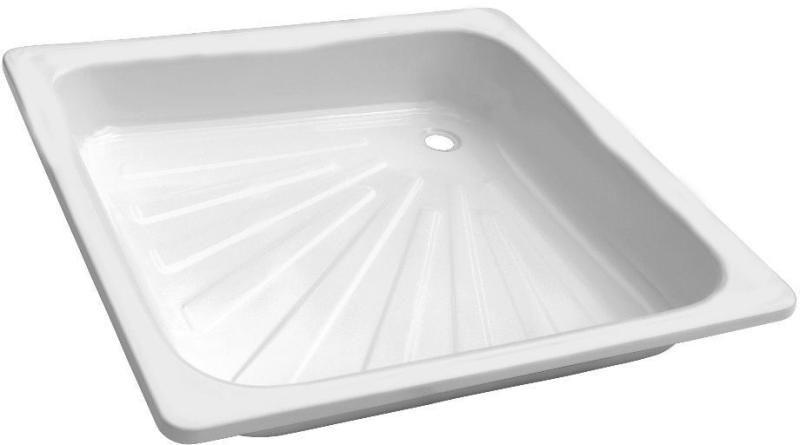 Mistral acéllemez / lemez zuhanytálca 80x80x17 cm, szögletes, beépíthető, zomácozott, fehér színben
