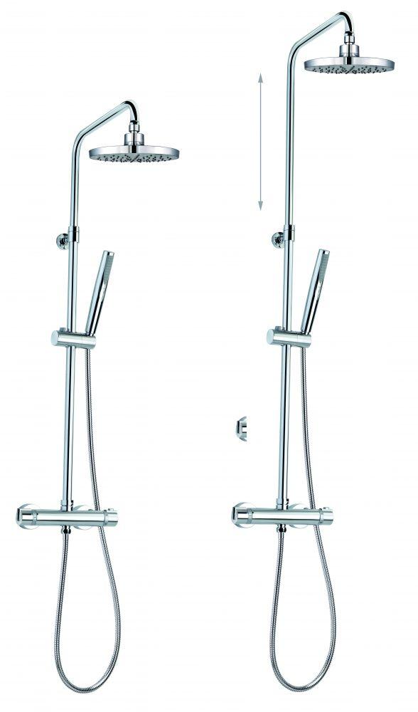 MOFÉM JUNIOR EVO zuhanyrendszer / termosztátos csaptelep felső kifolyóval, állítható teleszkópos felszállócsővel / 170-0004-00 / 170000400