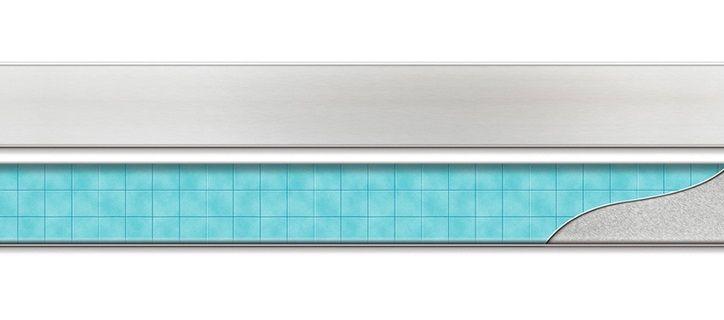MOFÉM / TEKA Linear MLS-750 KF padlósíkra építhető lefolyó / zuhanylefolyó szett, minta nélküli ráccsal, SAROK, 501-0006-00 / 501000600