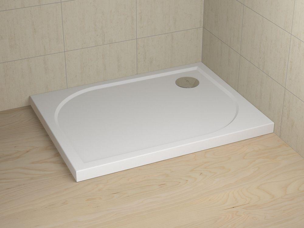 RADAWAY Delos D 90×75×5,5×1 cm aszimmetrikus akril zuhanytálca, ST 90 szifonnal, közvetlenül a padlósíkra építhető, 2 év garancia, fehér 4D97545-03 / 4D9754503