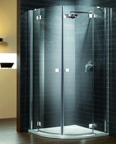 RADAWAY Almatea PDD 100 negyedköríves / íves / szimmetrikus zuhanykabin 1000x1000x1950 mm / 01 barna üveg / 30522-01-08N
