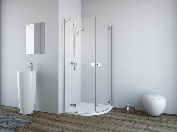 RADAWAY Fuenta New PDD 80B bal / balos, íves zuhanykabin AJTÓ / negyedköríves / 01 átlátszó üveg 384002-01-01L