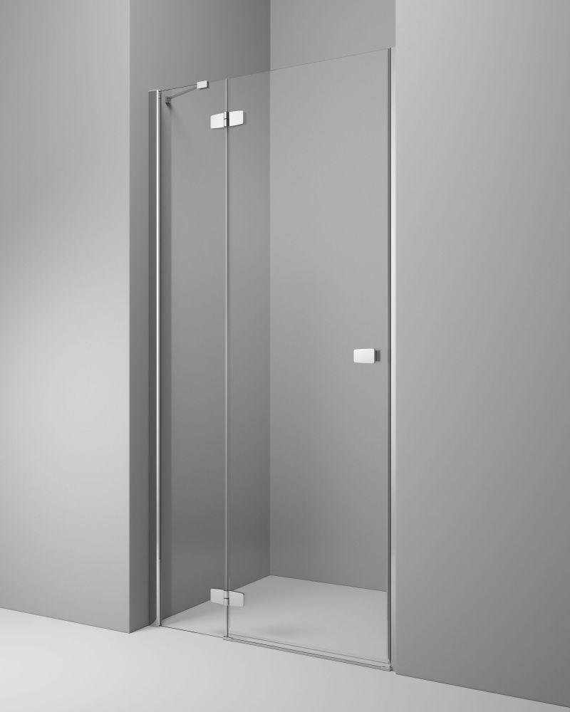 RADAWAY Fuenta New DWJ 130 B bal / balos szögletes zuhanykabin 1290-1310x2000 mm / 01 átlátszó üveg / 384017-01-01L + Króm küszöb