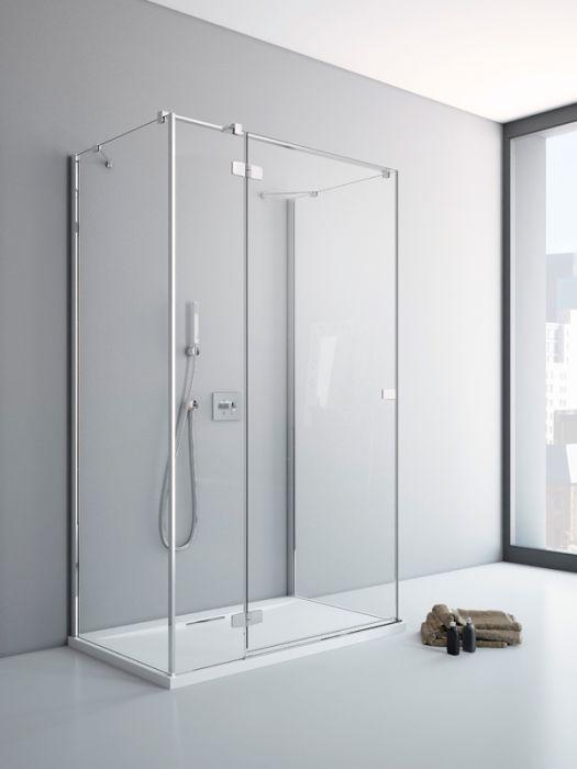 RADAWAY Fuenta New KDJ+S 120 B bal / balos szögletes zuhanykabin AJTÓ 1200x2000 mm / 01 átlátszó üveg / 384024-01-01L + Króm küszöb