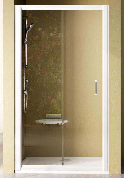 RAVAK Rapier NRDP2-100 Toló rendszerű kétrészes, balos zuhanyajtó fehér kerettel / TRANSPARENT edzett biztonsági üveggel / 100 cm / 0NNA010LZ1