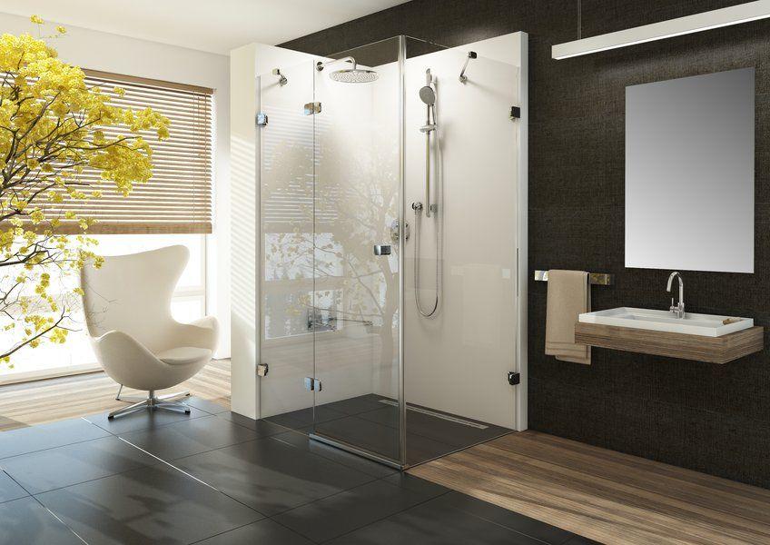 RAVAK Brilliant BSDPS-90 Jobbos zuhanykabin fix fallal + B SET / króm kerettel / TRANSPARENT edzett biztonsági üveggel 90 cm / 0UP77A00Z1 + D01000A075