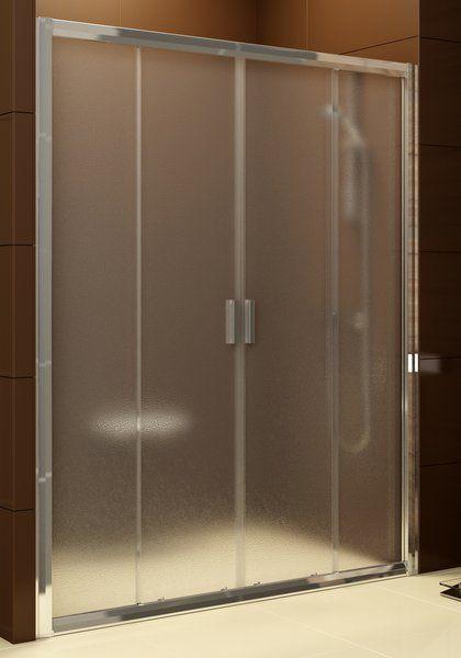 RAVAK Blix zuhanyajtó BLDP4-150 négyrészes, toló rendszerű, fehér kerettel / GRAPE edzett biztonsági üveggel, 150 cm / 0YVP0100ZG
