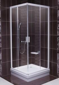 RAVAK BLIX sarok szögletes zuhanykabin BLRV2-90 fényes króm / fényes alumínium keret + TRANSPARENT edzett biztonsági üveggel / 1LV70C00Z1