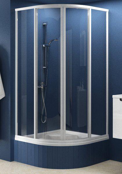 RAVAK SUPERNOVA SKCP4-80 Sabina negyedköríves zuhanykabin minikádakhoz fehér kerettel / PEARL műanyag (plexi) betétlemez, 80 cm-es / 31144V10011