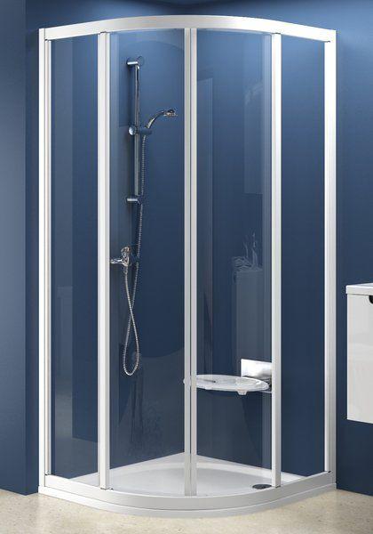 RAVAK SUPERNOVA SKCP4-90 négyelemes, negyedköríves tolórendszerű zuhanykabin szatén kerettel / TRANSPARENT edzett biztonsági üveggel, 90 cm-es / 31170U00Z1