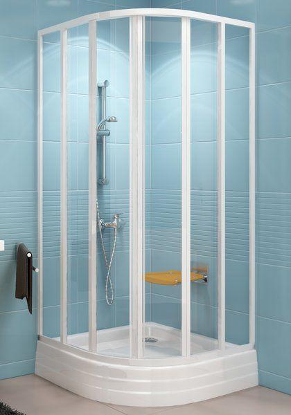 RAVAK SUPERNOVA SKKP6-90 hatelemes, negyedköríves tolórendszerű zuhanykabin fehér kerettel / PEARL műanyag (plexi) betétlemez, 90 cm-es / 3207010011