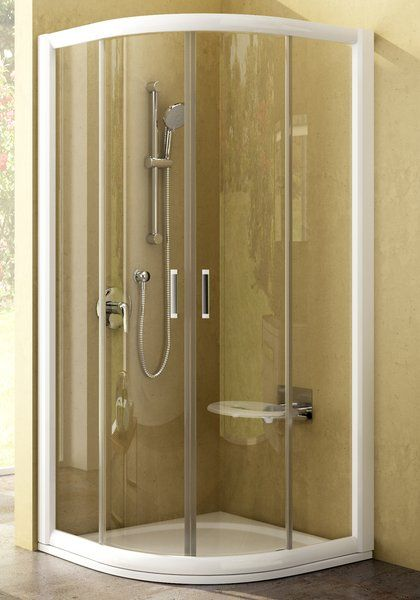 RAVAK Rapier NRKCP4-100 Negyedköríves tolóajtós négyrészes zuhanykabin fehér kerettel / TRANSPARENT edzett biztonsági üveggel 100 cm / 3L3A0100Y1