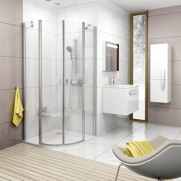 RAVAK Chrome CSKK4-80 Négy részből álló negyedköríves zuhanykabin fényes alumínium kerettel / TRANSPARENT edzett biztonsági üveggel 80 cm / 3Q140C00Z1