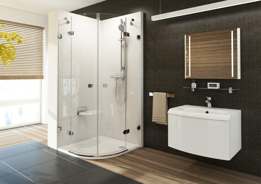 RAVAK Brilliant BSKK4-80 négyrészes, negyedköríves zuhanykabin + B SET / króm kerettel / TRANSPARENT edzett biztonsági üveggel / 3U244A00Y1 + D01000A073