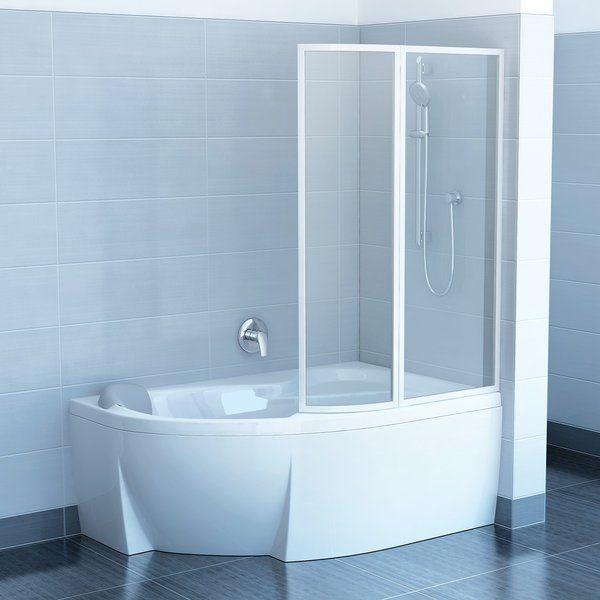 RAVAK VSK2 ROSA 150, Jobbos, kételemes kádparaván fehér kerettel / RAIN műanyag (plexi) betétlemez, 150 cm / 76P8010041