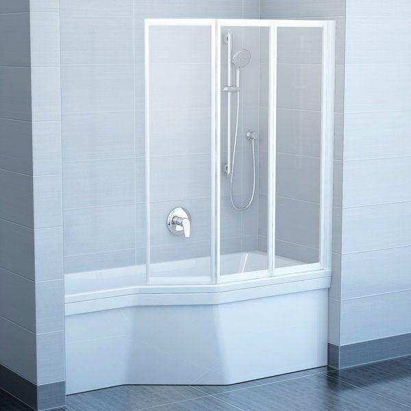 RAVAK VS3 100 Háromelemes, harmonika rendszerű kádparaván fehér kerettel / TRANSPARENT edzett biztonsági üveggel, 100 cm / 795P0100Z1