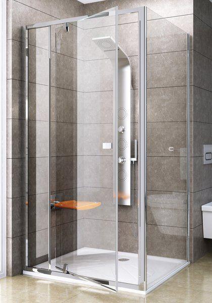 RAVAK Pivot PPS-80 Fix oldalfal Pivot zuhanyajtóhoz szatén kerettel / TRANSPARENT edzett biztonsági üveggel 80 cm / 90G40U00Z1