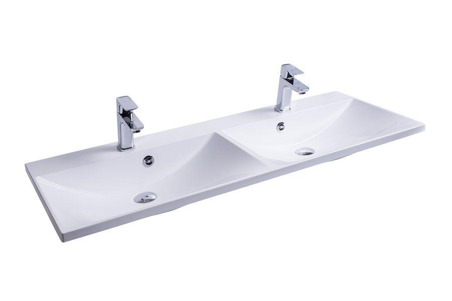 RAVAK Flat Duo 1200 duplamosdó / dupla mosdó / nyílással / furattal / 1200 x 460 mm-es / 120 x 46 cm-es, fehér, cikkszám: SXJS0000009