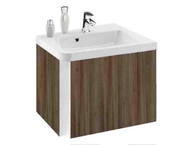 RAVAK SD 10° 550 mm-es mosdó alatti szekrény / sarok kivitel / balos / fényes sötét dió / 10 fok / cikkszám: X000000741