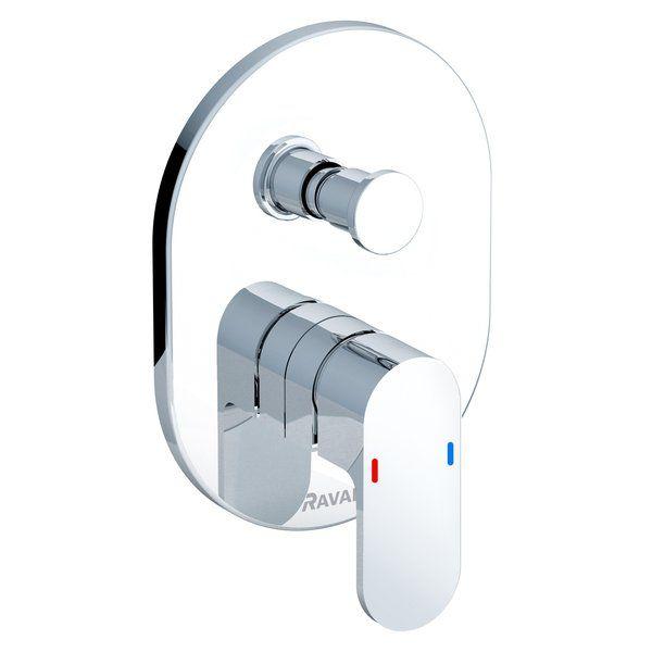 RAVAK CHROME Falba süllyesztett / beépíthető kád csaptelep / kádtöltő zuhanyváltóval R-Boxhoz CR.065.00, cikkszám: X070056, falsík alatti csaptelep látható rész