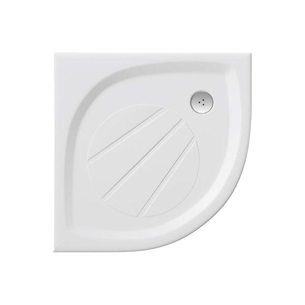 RAVAK GALAXY Elipso Pro 80 negyedköríves zuhanytálca, 80 x 80 cm-es, öntött műmárványból, csúszásgátló felület / extra alacsony  / fehér / XA234401010