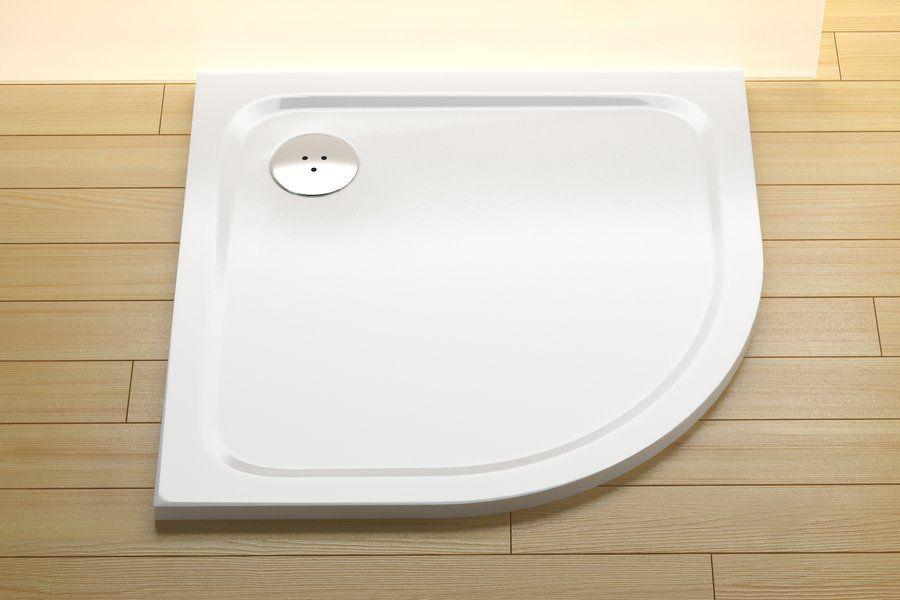 RAVAK GALAXY Elipso Pro 90 CHROME negyedköríves zuhanytálca, 90 x 90 cm-es, öntött műmárványból, csúszásgátló felület / extra alacsony / fehér / XA247701010