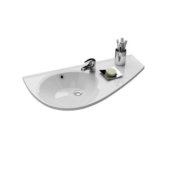RAVAK AVOCADO mosdó, öntött műmárvány, jobbos / jobb, furattal, 850x450 mm / 85x45 cm / fehér, cikkszám: XJ1P1100000