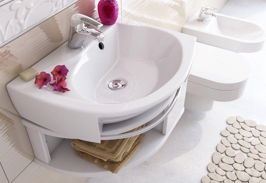 RAVAK Rosa balos / bal, mosdó, furattal, 56 cm, fehér, XJ2L1100000