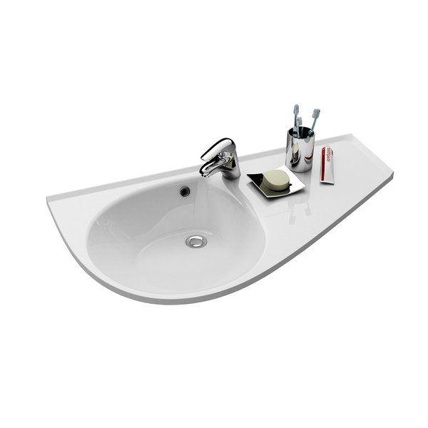 """RAVAK AVOCADO """"COMFORT"""" R jobbos / jobb mosdó, öntött műmárvány, 950 x 450 mm / 95x45 cm / fehér, cikkszám: XJ9P1100000"""