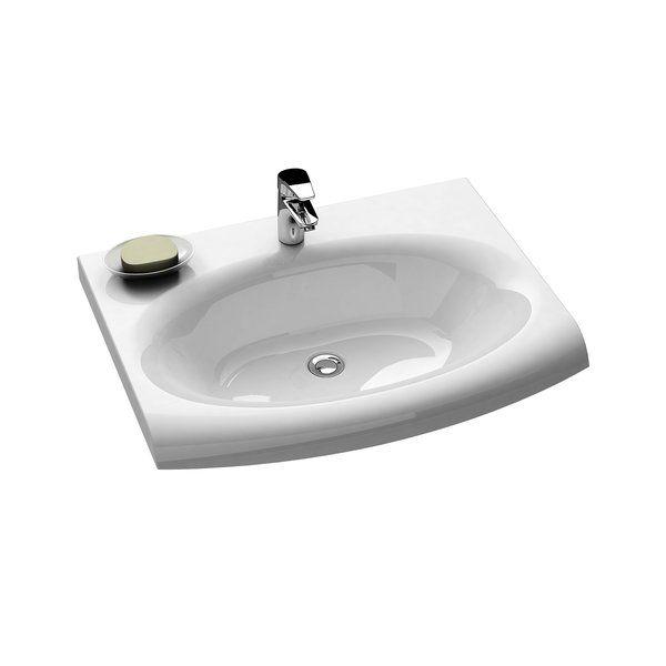 RAVAK Evolution mosdó túlfolyó furat nélkül / rejtett túlfolyóval, 750x550 mm / 75x55 cm, fehér, XJE01200000