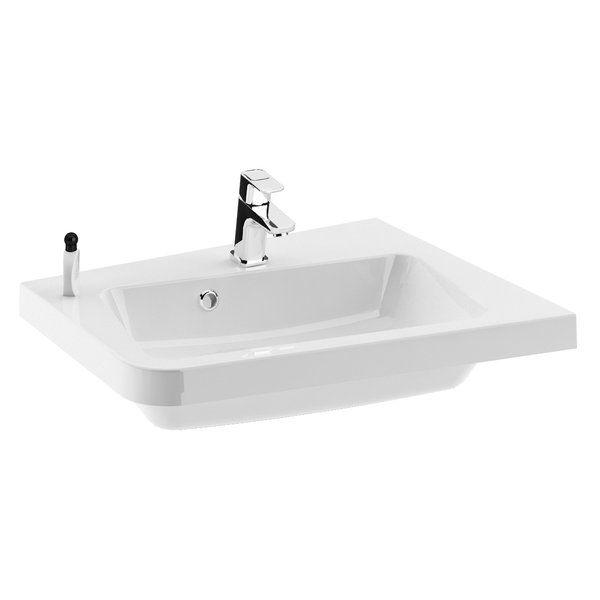 RAVAK 10° 650 R öntött márvány mosdó, furattal / 10 fok / jobbos / fehér / 65x53,5 cm-es / 650 x 535 cm-es / cikkszám: XJIP1165000