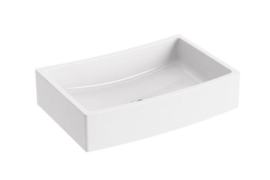 RAVAK Formy 02 600 D mosdó, szögletes, modern, túlfolyó nélkül, 60 x 41 cm-es / 600 x 410 cm-es / fehér / XJM01260000