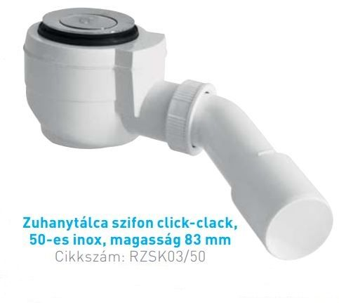 ROLTECHNIK Zuhanytálca szifon click-clack, 50-es inox, magasság 83 mm, Cikkszám:  RZSK03/50