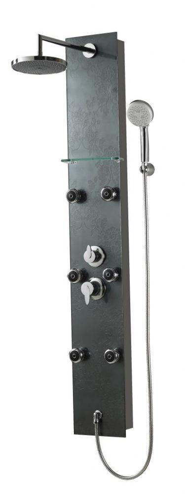 Sanotechnik BARCELONA DG8039 fekete strukturált üvegből zuhanypanel kézi zuhannyal, masszázs funkció, fejzuhany
