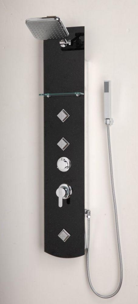Sanotechnik ZANZIBAR DG9038 fekete üvegből zuhanypanel kézi zuhannyal, masszázs funkció, fejzuhany