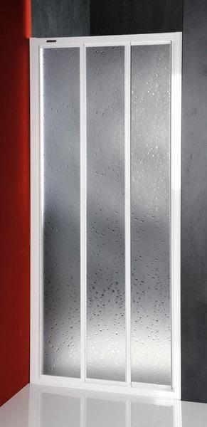 Aqualine / Sanplast DTR-C-90 háromrészes eltolható zuhanyajtó / ajtó zuhanyhoz, fehér kerettel, cseppmintás plexi / polisztirén betéttel, 900 mm-es / 90 cm-es