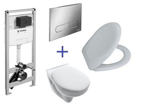 SCHELL Montus C 120 beépíthető WC tartály szett gipszkarton falhoz / komplett keretes wc tartály + Linear Round fehér nyomólap +  Saval 2.0 fali wc csésze + ülőke
