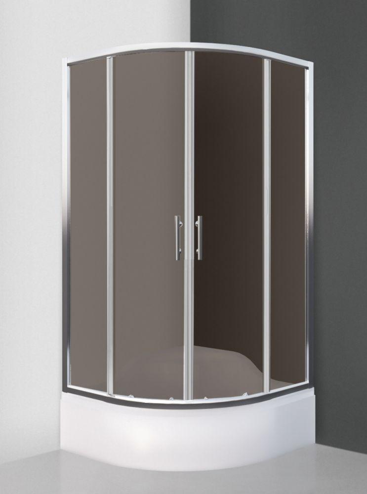 Roltechnik MADISON NEO/900 íves, keretes,  görgős zuhanykabin / brillant profillal / rauch üveggel / cikkszám: N0659 / Sanipro
