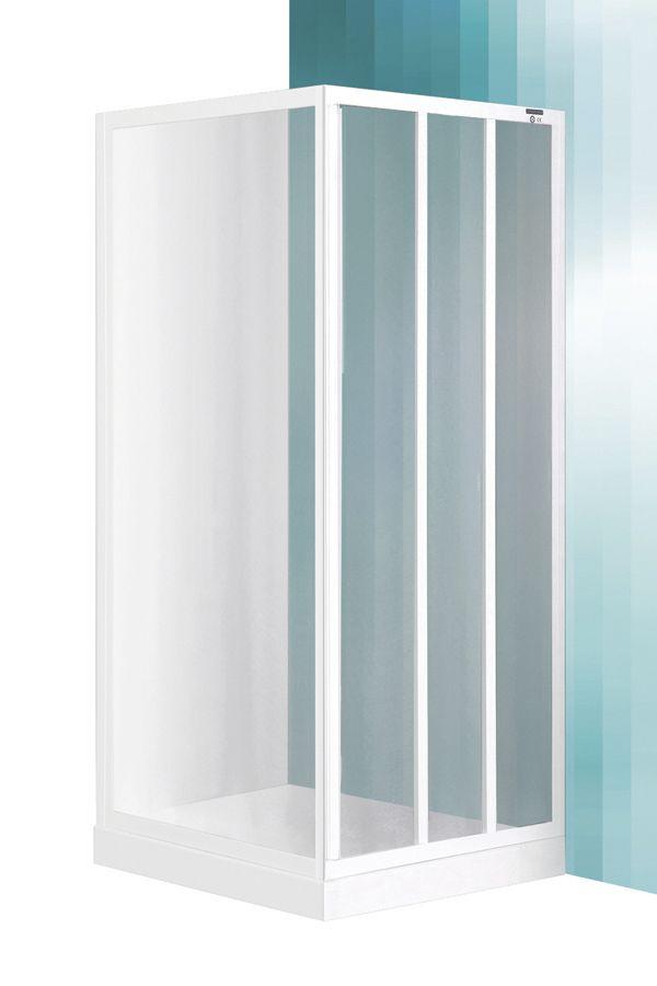 Roltechnik LD3/950 csúszkás tolóajtó / LSB – zuhanyfal, és zuhanytálca nélkül / fehér profillal / polisztirol plexi betéttel / cikkszám: 215-9500000-04-04 / Sanipro